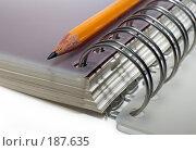 Купить «Блокнот и карандаш, крупный план», фото № 187635, снято 29 марта 2007 г. (c) Морозова Татьяна / Фотобанк Лори