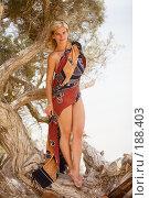Купить «Женщина стоит на дереве на фоне моря», фото № 188403, снято 4 августа 2007 г. (c) Олег Селезнев / Фотобанк Лори