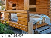 Купить «Строящийся деревянный дом», фото № 191607, снято 26 сентября 2007 г. (c) Ирина Мойсеева / Фотобанк Лори