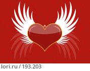 Купить «Фон - красное сердце с крыльями», иллюстрация № 193203 (c) Лукиянова Наталья / Фотобанк Лори