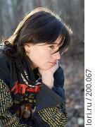 Купить «Портрет девушки на фоне леса в лучах солнца», фото № 200067, снято 6 февраля 2008 г. (c) Федор Королевский / Фотобанк Лори