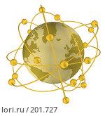 Купить «Спутники на орбите вокруг земного шара», иллюстрация № 201727 (c) Ильин Сергей / Фотобанк Лори