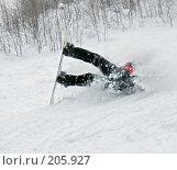Купить «Падение сноубордиста», фото № 205927, снято 6 февраля 2008 г. (c) Александр Лядов / Фотобанк Лори