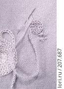 Купить «Художественная штопка - небольшая дырка в тонком трикотаже закрывается фриформ-вышивкой», фото № 207687, снято 22 февраля 2008 г. (c) Tamara Kulikova / Фотобанк Лори