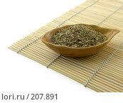 Мате в керамической миске на бамбуковом коврике. Стоковое фото, фотограф Полина Столбушинская / Фотобанк Лори