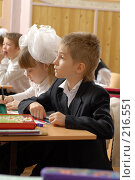 Купить «Первоклассники на уроке», фото № 216551, снято 5 февраля 2008 г. (c) Федор Королевский / Фотобанк Лори