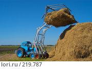 Купить «Стогоукладчик за работой», фото № 219787, снято 7 сентября 2004 г. (c) Иван Сазыкин / Фотобанк Лори