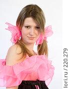 Купить «Портрет девушки с розовыми бантами», фото № 220279, снято 4 января 2008 г. (c) Евгений Батраков / Фотобанк Лори