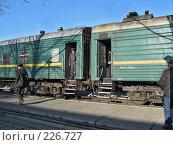 Купить «Поезд подошел к перрону», фото № 226727, снято 16 марта 2008 г. (c) Геннадий Соловьев / Фотобанк Лори