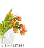 Купить «Букет красно-желтых тюльпанов в стеклянной вазе на белом фоне», фото № 227991, снято 8 марта 2008 г. (c) Ольга Хорькова / Фотобанк Лори