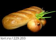 Купить «Батон белого хлеба и репчатый лук на черном фоне», эксклюзивное фото № 229203, снято 21 марта 2008 г. (c) lana1501 / Фотобанк Лори