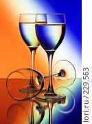 Купить «Три бокала на цветном фоне», фото № 229563, снято 25 сентября 2018 г. (c) Михаил Котов / Фотобанк Лори
