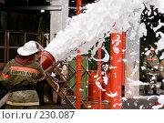 Купить «Пожарный льет пену из пожарного шланга», фото № 230087, снято 20 марта 2008 г. (c) Евгений Батраков / Фотобанк Лори