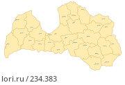 Купить «Латвия - карта административного устройства с названиями центров», иллюстрация № 234383 (c) Елена Киселева / Фотобанк Лори