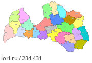 Купить «Латвия - цветная карта административного устройства с названиями центров», иллюстрация № 234431 (c) Елена Киселева / Фотобанк Лори