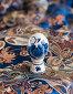 Пасхальное фарфоровое яйца на фоне синего китайского шёлка, фото № 234675, снято 23 марта 2008 г. (c) Алла Матвейчик / Фотобанк Лори