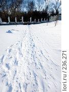 Купить «Занесенная снегом тропа в парк», фото № 236271, снято 22 февраля 2008 г. (c) Валерия Потапова / Фотобанк Лори