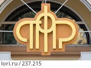 Купить «Эмблема Пенсионного Фонда России», фото № 237215, снято 23 марта 2018 г. (c) Юрий Егоров / Фотобанк Лори