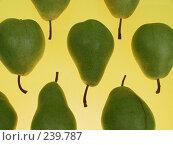 Купить «Зеленые груши на желтом фоне», фото № 239787, снято 26 марта 2019 г. (c) Кравецкий Геннадий / Фотобанк Лори