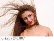 Купить «Девушка с длинными развевающимися волосами», фото № 240807, снято 14 ноября 2004 г. (c) Виктор Филиппович Погонцев / Фотобанк Лори