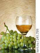 Купить «Бокал вина и кисть винограда», фото № 241799, снято 22 января 2018 г. (c) Роман Сигаев / Фотобанк Лори