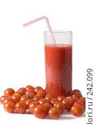 Купить «Томаты Черри и томатный сок», фото № 242099, снято 17 сентября 2019 г. (c) Cветлана Гладкова / Фотобанк Лори