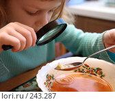 Купить «Девочка ест суп, рассматривая через лупу капусту», эксклюзивное фото № 243287, снято 17 августа 2018 г. (c) Juliya Shumskaya / Blue Bear Studio / Фотобанк Лори