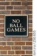 "Купить «Табличка ""No ball games""», фото № 250655, снято 23 сентября 2018 г. (c) Алсу Сайфитдинова / Фотобанк Лори"