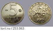 Купить «Болгарская монета пять лева», фото № 253063, снято 31 марта 2008 г. (c) Олег Хархан / Фотобанк Лори