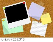 Купить «Коллаж - пробковая доска с прикреплепленными листочками бумаги и фотографией», иллюстрация № 255315 (c) Лукиянова Наталья / Фотобанк Лори