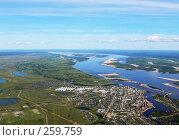 Купить «Вид на город Якутск из самолёта», фото № 259759, снято 28 сентября 2018 г. (c) Владимир Казарин / Фотобанк Лори