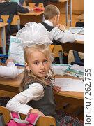 Купить «Первоклассница с большим бантом», фото № 262755, снято 25 апреля 2008 г. (c) Федор Королевский / Фотобанк Лори