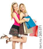 Купить «Две девушки с покупками», фото № 265071, снято 6 марта 2008 г. (c) Андрей Армягов / Фотобанк Лори