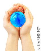 Купить «Руки держат земной шар», фото № 265107, снято 1 апреля 2008 г. (c) Андрей Армягов / Фотобанк Лори