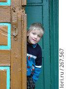 Купить «Мальчик выглядывает из-за дверей сельской школы», фото № 267567, снято 28 октября 2005 г. (c) Виктор Филиппович Погонцев / Фотобанк Лори