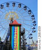 """Колесо обозрения в парке """"Сокольники"""" в Москве (2008 год). Редакционное фото, фотограф lana1501 / Фотобанк Лори"""