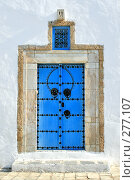 Купить «Традиционная дверь в городке Сиди-бу-Саид, Тунис», фото № 277107, снято 8 сентября 2007 г. (c) Вероника Галкина / Фотобанк Лори