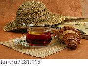 Купить «Натюрморт дачный с чаем, лимоном и круассаном с женской соломенной шляпой на оранжевом фоне», фото № 281115, снято 29 апреля 2008 г. (c) Татьяна Белова / Фотобанк Лори