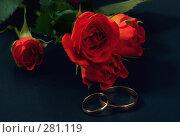 Купить «Обручальные кольца с красными розами на синем фоне», фото № 281119, снято 10 мая 2008 г. (c) Татьяна Белова / Фотобанк Лори