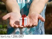 Купить «Мужские руки с подарком», фото № 286087, снято 13 мая 2008 г. (c) Рыбин Павел / Фотобанк Лори