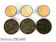 Купить «Ассортимент китайских зеленых чаев и глиняная чашка с чаем на белом фоне», фото № 292643, снято 10 мая 2008 г. (c) Татьяна Белова / Фотобанк Лори