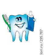 Здоровый зуб с щеткой и зубной пастой, иллюстрация № 295787 (c) Анна Боровикова / Фотобанк Лори