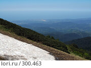 Купить «Вид со стороны абхазских гор на город Адлер и взлётные полосы аэродрома», фото № 300463, снято 6 июля 2007 г. (c) Татьяна Нафикова / Фотобанк Лори