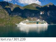 Купить «Круизный морской лайнер в норвежском фьорде», эксклюзивное фото № 301239, снято 2 августа 2006 г. (c) Александр Алексеев / Фотобанк Лори