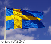 Флаг Швеции. Стоковое фото, фотограф Окунев Александр Владимирович / Фотобанк Лори