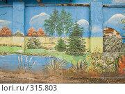 Купить «Бетонный забор, расписанный под пейзаж», фото № 315803, снято 7 июня 2008 г. (c) Эдуард Межерицкий / Фотобанк Лори