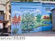 Купить «Стена трансформаторной будки, расписанная под пейзаж», фото № 315815, снято 7 июня 2008 г. (c) Эдуард Межерицкий / Фотобанк Лори