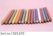 Купить «Много цветных карандашей на розовом фоне», фото № 323615, снято 30 мая 2008 г. (c) Останина Екатерина / Фотобанк Лори