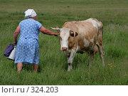 Купить «Доярка (хозяйка) идет доить корову», фото № 324203, снято 8 октября 2007 г. (c) Gagara / Фотобанк Лори
