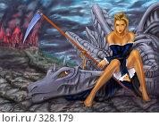 Купить «Девушка с косой на драконе», иллюстрация № 328179 (c) Владимир Лалов / Фотобанк Лори